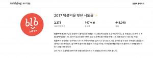 텀블벅이 2017 텀블벅을 빛낸 시도들의 결과를 발표했다
