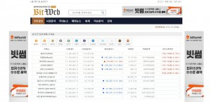비트웹이 제공하는 실시간 전세계 주요 암호화폐 시세창