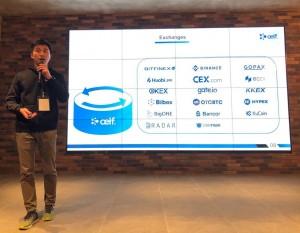 엘프의 공동창업자 주링 첸이 한국 투자자들을 대상으로 엘프를 소개하고 있다