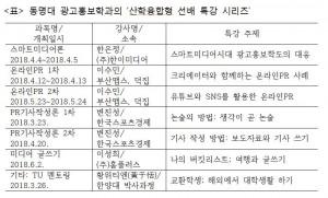 동명대학교 광고홍보학과 특강 시리즈 계획표
