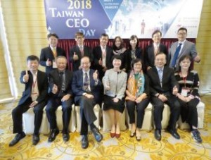 Managing Director& CEO Yu-Ching Su of Taipei Exchange is pictured with representatives from TPEX mainboard and emerging stock board companies at Taiwan CEO Day