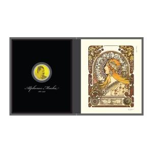 알폰스 무하를 새긴 아트 금메달과 무하 작품 조디악을 컬러로 재현한 요판화 작품을 스탠드형 케이스에 담았다
