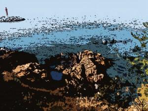 카툰필터로 변경한 제주도 바다 풍경