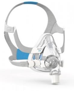 콰이어트에어 디퓨저 벤트 엘보를 장착한 레스메드 에어핏 F20 풀페이스 CPAP 마스크
