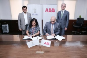 Anna Roy of NITI Aayog and Sanjeev Sharma, managing director of ABB India, sign a statement of partnership in advanced manufacturing technologies, including digital and AI, in New Delhi today. Looking on are Amitabh Kant, CEO of Niti Aayog, and Ulric