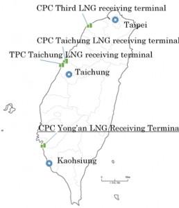 대만의 LNG 수입 터미널 위치