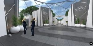 마크.스페이스가 VR 기술로 구현한 온라인 부동산 블록체인 엑스포 RBE 2018 사이트의 메인 화면