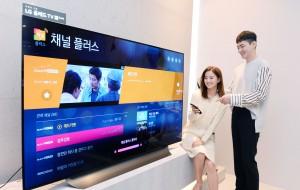 고객들이 LG베스트샵 강남본점에서 LG 스마트 TV로 채널플러스를 시청하고 있다