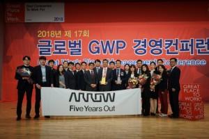 애로우 일렉트로닉스 팀이 2018 대한민국 일하기 좋은 기업 선정을 축하하고 있다