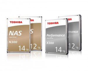 도시바 N300 NAS 하드드라이브 및 X300 퍼포먼스 HDD 시리즈의 12TB 및 14TB 헬륨-밀폐 모델 이미지
