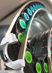 lokchain 원리: 가변형 핀(녹색 부분)이 lokchain을 가이드 트러프에 고정된다