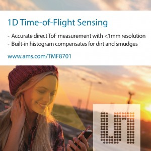 ams 스마트폰에서 정확한 근접 센싱 및 거리 측정을 위한 세계 최소형 1D ToF  센서 출시