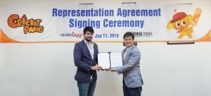 유니드캐릭터와 라이선스 인디아의 크리켓팡 인도 사업자 계약 서명 행사