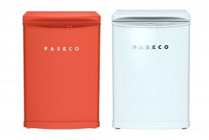 파세코의 냉동 겸용 김치냉장고 레트로오렌지(좌)와 화이트블루(우)