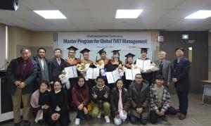 코리아텍이 개최한 아세안 국가 직업교육 전문가 양성을 위한 1기 Global TVET Management 석사과정 학위수여식 현장