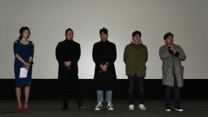 (왼쪽부터)MC홍제인, 박재홍, 도윤, 한이진, 서하늘 감독이 무대 인사를 하고 있다