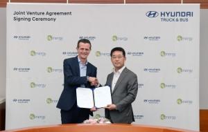 (왼쪽부터)스위스 H2 Energy 롤프 후버 회장과 현대차 상용사업본부장 이인철 부사장이 현대 하이드로젠 모빌리티 설립 계약 체결식에서 기념촬영을 하고 있다