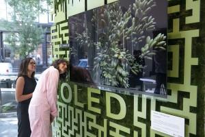 LG전자가 현지시간 12~14일 미국 뉴욕 맨해튼에서 운영한 카페 올레드에서 아미라 카셈(오른쪽) 셰프 등이 팬톤이 선정한 올해의 여름 컬러 페퍼 스템 조형물 앞  LG 올레드 TV를 살펴보고 있다