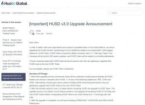 후오비 글로벌이 스테이블 코인 'HUSD Token'을 공개했다