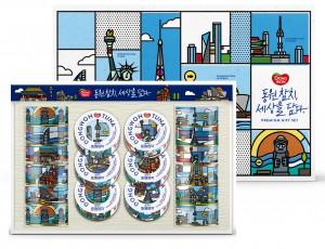 동원F&B가 동원참치에 마이크 카롤로스의 작품을 담은 아트 컬래버레이션 선물세트를 한정판 출시했다