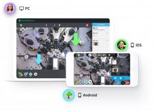 MAXWORK Remote: PC/안드로이드/iOS 등 다중 플랫폼으로 1: N 접속하여 AR 스티커, AR 드로잉 등의 기능을 이용해 원격 협업하는 장면