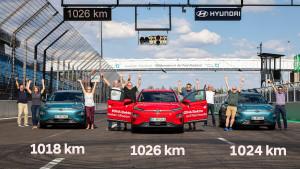 현대자동차 코나 일렉트릭이 1회 충전으로 1026km 주행에 성공했다
