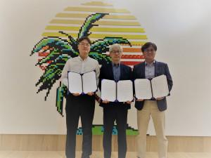 왼쪽부터 인스타일테크 박종진 대표, 카이언스 장진웅 대표, 올빅 하동욱 대표가 MOU 체결식에서 기념 촬영을 하고 있다