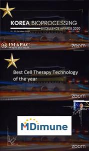 엠디뮨, 세포 치료 콘퍼런스 월드 아시아 2020서 Best Cell Therapy Technology of the Year 수상
