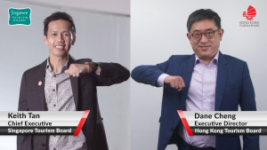 Mr Dane Cheng, Executive Director of the Hong Kong Tourism Board (right), and Mr Keith Tan, Chief Executive Officer of the Singapore Tourism Board (le...