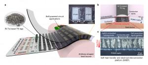 (a)고유연성 고성능 열전 소자의 모식도 (b)열전달이 뛰어난 소프트 전극 플랫폼의 모식도 (c)소프트 플랫폼 내에서 정렬된 금속 입자가 열전달 경로를 형성한 모습