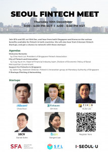 Seoul Fintech Lab holds the online 'Seoul Fintech Meet' with Singapore Fintech Association. The online meet-up in Singapore will start at 4 p.m. on De...