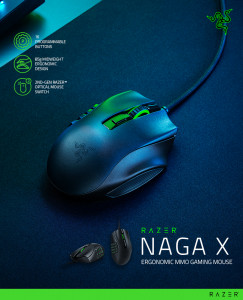 레이저(RAZER)가 다중접속(MMO) 게임에 최적화한 게이밍 마우스 'Razer Naga X'를 출시했다