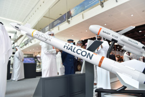 할콘이 UAE에서 설계하고 제조한 첫 대공근접방어 미사일 시스템 스카이나이트를 국제 방산 전시회 IEDX 2021에서 공개했다