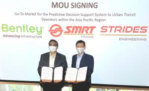 MOU 서명식에 참석한 벤틀리시스템즈의 남아시아 지부 부사장 Kaushik Chakrabort와 Strides Engineering의 대표 Gan Boon Jin