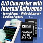 아나로그디바이스(www.analog.com, NASDAQ: ADI)는 오늘 내부 2.5V 레퍼런스 회로를 통합한 초저전력 12비트 1MSPS(1-Mega sample per sec