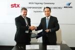 STX-메첼 간 전략적 협력에 관한 양해각서(MOU) 체결식. 사진 왼쪽부터 이고르 쥬진(Igor Zyuzin) 메첼(Mechel) 회장, 강덕수 STX그룹 회장