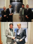(Above) Ian Williams is joined by (L-R) GAC Pindar Team Manager - Andrew Pindar, CEO of Garrard - Er