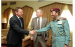 Major General Nasser Lakhrebani Al Nuaimi receiving Mr. Donald Bliss and Mr. Drew Azzara