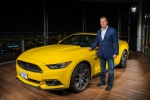 Ford Motor Company Executive Chairman Bill Ford welcomes the new 2015 Mustang to Dubai by taking it