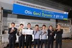 지난 9일 충남 아산 CLC를 통해 첫 선을 보이는 독자적인 국내 모델 '젠투다이나믹(Gen2 Dynamic)'의 출하식을 가졌다. (왼쪽부터 조익서 대표이사, 김순평 전무, 최제