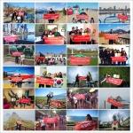 제5회 어시스트카드 장학생과 세계여행 리포터 2기 장학생들이 세계 각국에서 장학증서와 현수막을 전달받아 기념촬영을 하고 있다