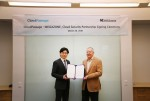 클라우드 보안 사업 협력을 위하여 전략적 파트너십을 체결한 메가존의 이주완 대표와 Robert Thomas 클라우드패시지 CEO