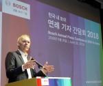 로버트보쉬코리아 프랑크 셰퍼스(Dr. Frank Schaefers) 대표이사가 한국 내 보쉬 사업 활동에 대해 발표하고 있다