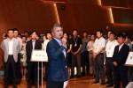 장세욱 동국제강 부회장이 6일, 을지로 본사에서 진행한 창립 64주년 기념식에서 직원들에게 메시지를 전하고 있다