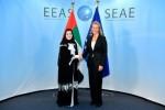 아말 알 쿠바이시 UAE 연방평의회 의장과 페데리카 모게리니 유럽연합 외교안보 고위대표