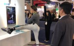 Allblanc CEO Ryo Chuh-yeop demonstrates fitness smart mirror Mirror Fit at the CES 2019. With Mirror