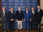 사진 좌에서 우로: 모나코 알베르 2세 국왕재단 부이사장 겸 CEO 베르나르 포트리에, 아마알라 최고경영자 니콜라스 나폴리, 모나코 국왕 알베르 2세, 아말라 이사회 이사 투르키