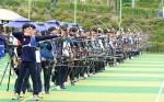 현대자동차 정몽구배 한국양궁대회 2019에 참가한 선수들이 예선전을 진행하고 있다