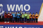 2019 WMO 한국본선 수상 팀들이 시상식을 갖고 기념촬영을 하고 있다