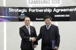 왼쪽부터 삼성SDS 홍원표 대표이사와 소비코 그룹 응웬 탄 훙 회장이 삼성SDS 잠실캠퍼스에서 디지털 트랜스포메이션 지원 및 물류 혁신을 위한 사업협약을 체결하고 기념촬영을 하고
